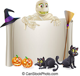 Halloween Mummy Scroll Sign - A Halloween scroll sign with a...