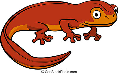 Cartoon Newt - An illustration of a happy cute cartoon newt