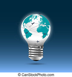 Bulb light - globe with flying planes Conceptual vector