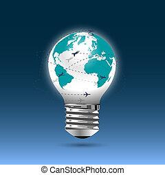 bombilla, luz, -, globo, vuelo, aviones