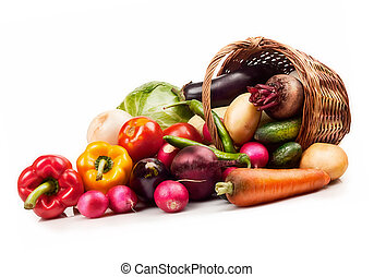 vegetables - Fresh ripe vegetables on white background