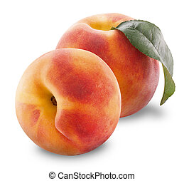Ripe peach fruit with leaves and slices on white background