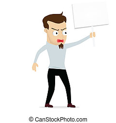 Young businessman cartoon protest held, use in dialogs with...