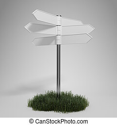 Blank signpost on gray background