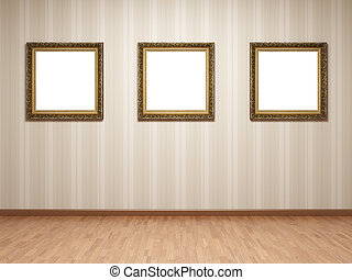 Empty room frames - Empty room with frames on striped...