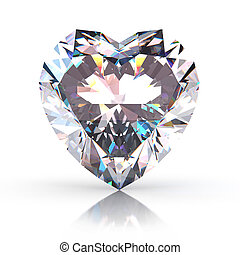 Diamond heart  isolated on white background