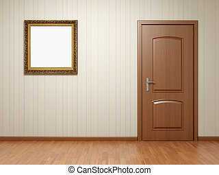 Empty room with door and frame - Empty room with wooden door...