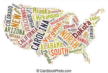USA puzzle of words by States