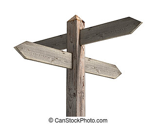 Blank sign post - Old wooden blank sign post
