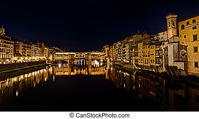 Ponte Vecchio at night in  Florence, Italy