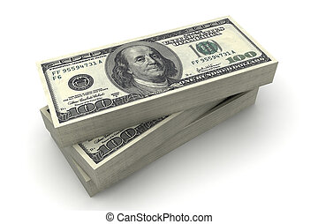 The American dollars in a stack on $100 bills - Stack of...