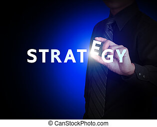 Business hand and word Strategy