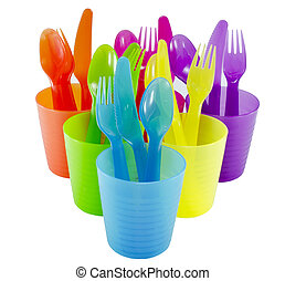 spoon fork cup and bowl Plastic ware with white isolate...