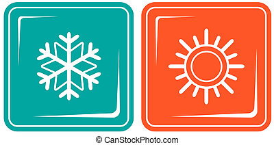 icons with snowflake and sun - set two icon with snowflake...