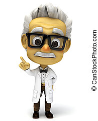 3d professor with attention pose - 3d render cartoon...