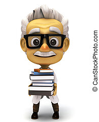 Professor with stack of books - 3d render cartoon professor...