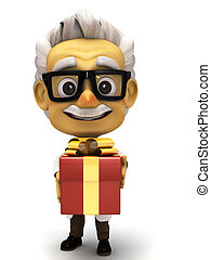 Professor with hold a gift - 3d render cartoon professor...