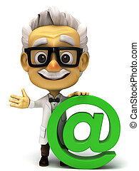 3d Professor with at mark symbol - 3d render cartoon...