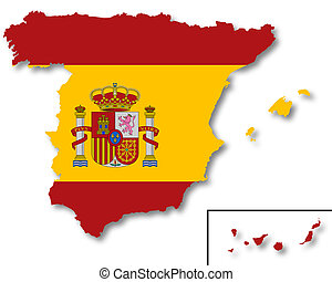 Map and flag of Spain - A 2D illustration of a map with a...