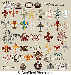Collection of vector heraldic fleur - Vector set of luxury...
