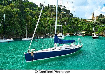 Yacht at Portofino bay Ligurian coast in Italy