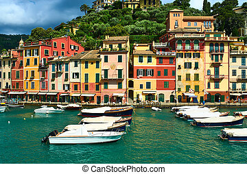 Portofino village on Ligurian coast, Italy - Portofino...