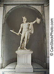 Perseus and Medusa. - Sculpture of Perseus holding head of...