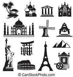 set landmarks icons - set vector black and white icons of...
