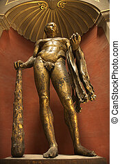 Hercules sculpture. - Bronze sculpture of Hercules in the...