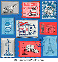 Set of Stamps - Vintage Paris and France - for design and...