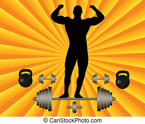 athlete with a barbell and dumbbell weights