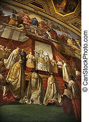 Fresco in Vatican Museum. - Fresco in the Vatican Museum,...