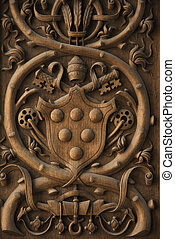 Coat of arms. - Close-up wood carving of Papal coat of arms...