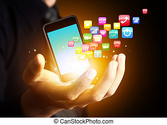 Smart phone with application - Smartphone with cloud of...