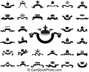 king and queen crown with ribbon silhouette icon set...