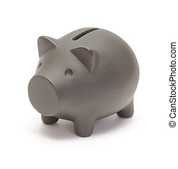 Black piggy bank isolated on white
