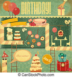 Retro Birthday Card. Set of Birthday Objects in Vintage...