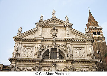 San Moise Church, Venice - Facade of San Moise Church in...