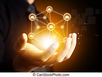 hand holding social network icon - Male hand holding virtual...