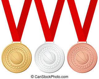 medals basketball - Medals basketball isolated on a white...