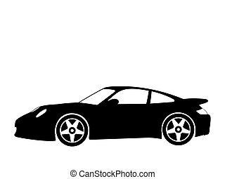 sport car 4 - Black silhouette on a sport car Vector...