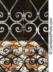Forjado, ferro, portão