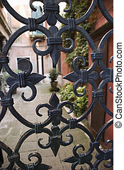 Wrought iron gate. - Wrought iron gate in Venice, Italy.