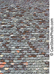Old Tiled Roof - Old tiled roof covered with moss