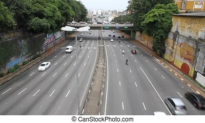 Traffic in Sao Paulo	 - Traffic on a highway in Sao Paulo.