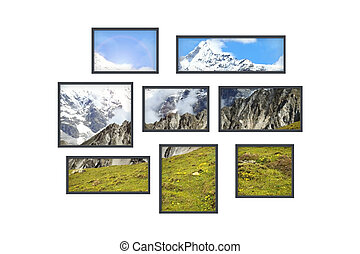 several windows on a white wall with mountains landscape