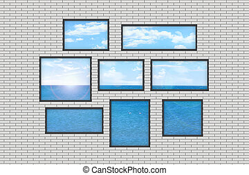 several windows on a white brick wall with sea landscape