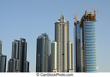 Skyscrapers at the Sheikh Zayed Road in Dubai