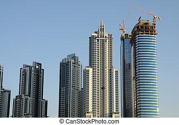 jeque,  Dubaï,  zayed, rascacielos, camino