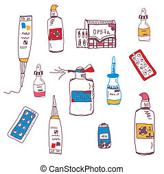 Pills and medical bottles doodle set